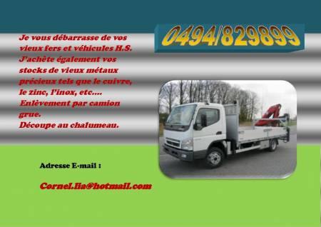 Ferrailleur avec camion grue région Charleroi