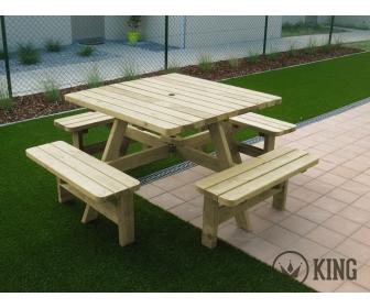 Table de pique-nique imprégné KING carré à vendre 4