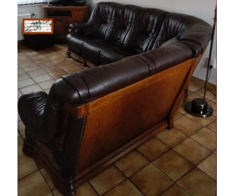 Salon d'angle en cuir et chêne 4