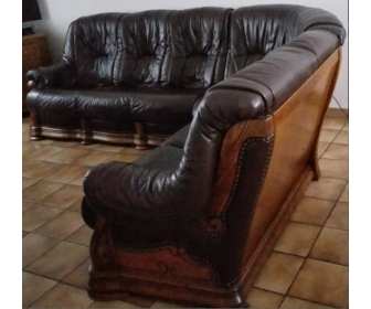 Salon d'angle en cuir et chêne 1