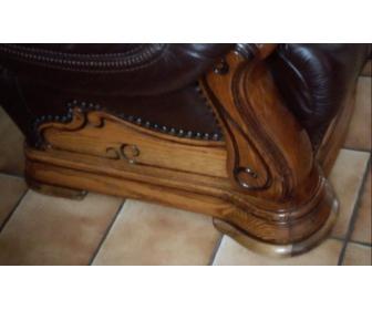 Salon d'angle en cuir et chêne 2