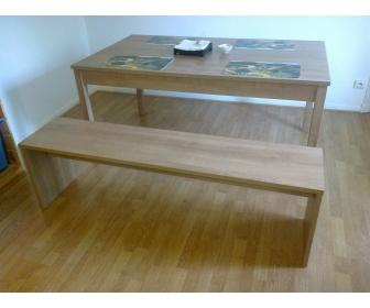 Table à manger (extensible) et banc (bois clair, solide) 1
