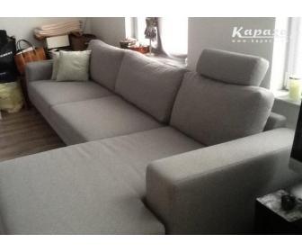 canapé occasion en L tissu gris 2