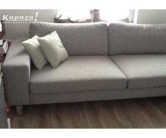 canapé occasion en L tissu gris 1