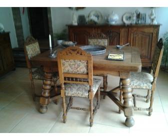 table et chaises en cha ne massif