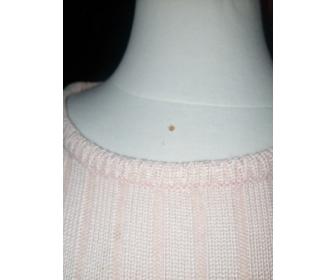 30 PULL LONG  rose à côtes,  fin tricot. 3